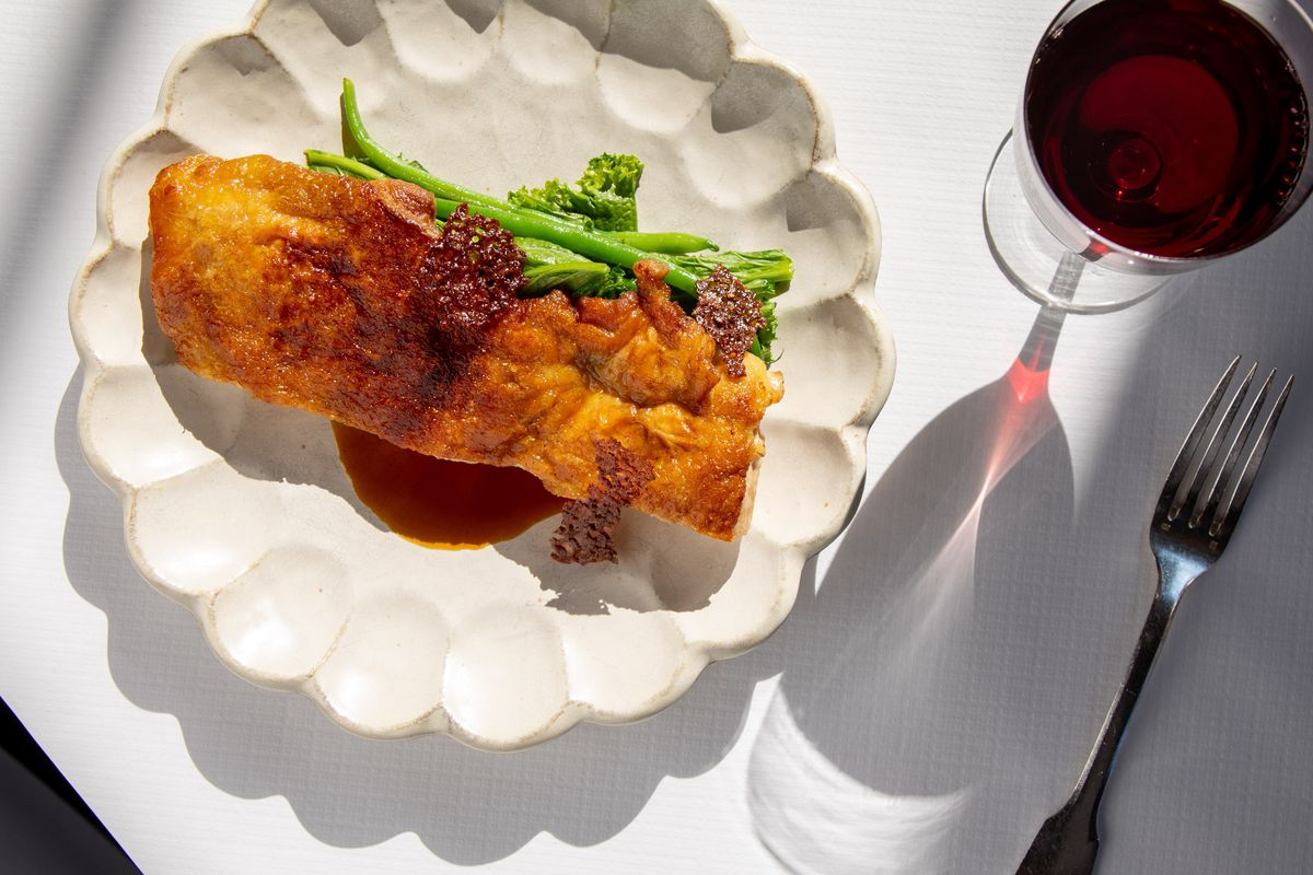 Chicken with garlic ginger nougatine
