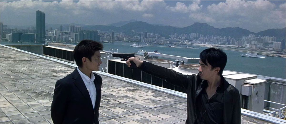 Andy Lauand Tony Leungas Senior Inspector Lau Kin-ming and Chan Wing-yan in the 2002 Hong Kong crime film Infernal Affairs.