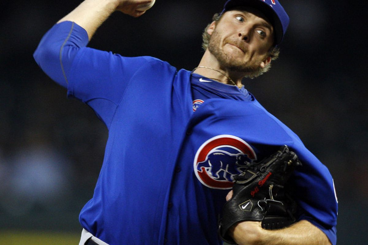 Pitcher Jeff Stevens of the Chicago Cubs throws against the Houston Astros at Minute Maid Park on April 12, 2011 in Houston, Texas.  (Photo by Bob Levey/Getty Images)