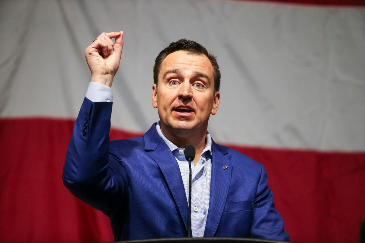 Utah House Speaker Greg Hughes, R-Draper, speaks in support of Cole Souza, candidate for party secretary, during the 2017 Utah Republican Party State Organizing Convention at the South Towne Expo Center in Sandy on Saturday, May 20, 2017.