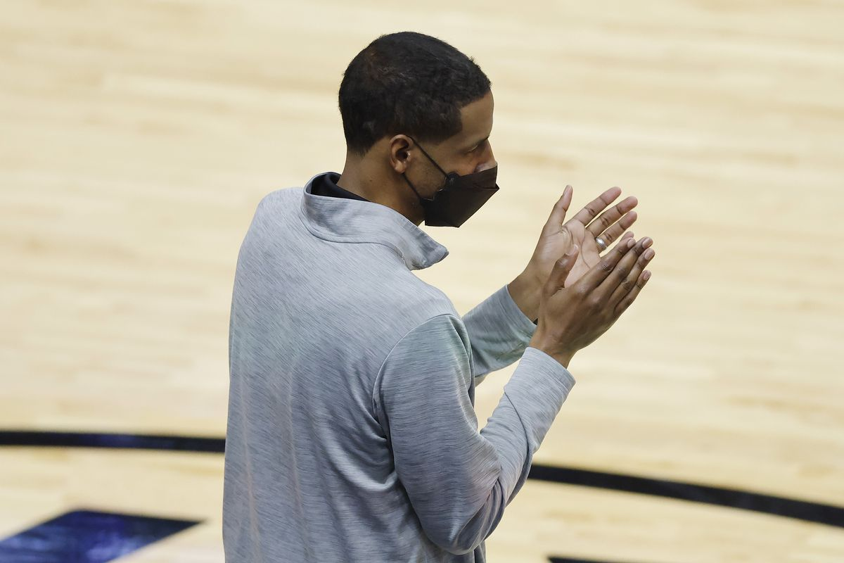 Head coach Stephen Silas of the Houston Rockets reacts against the Miami Heat during the first quarter at American Airlines Arena on April 19, 2021 in Miami, Florida.