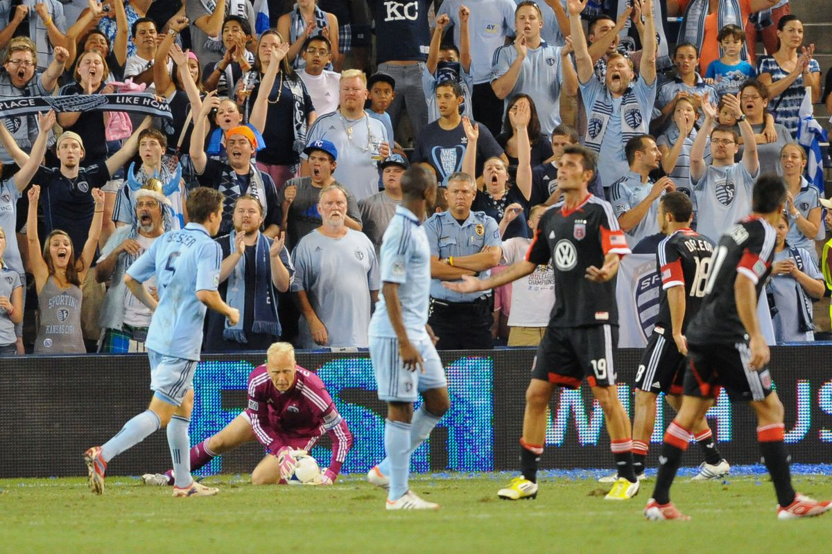 August 11, 2012; Sporting KC goalkeeper Jimmy Nielsen (1) makes a save during the second half of the soccer match at LIVESTRONG Sporting Park. Sporting KC won 2-1. Mandatory Credit: Denny Medley-US PRESSWIRE