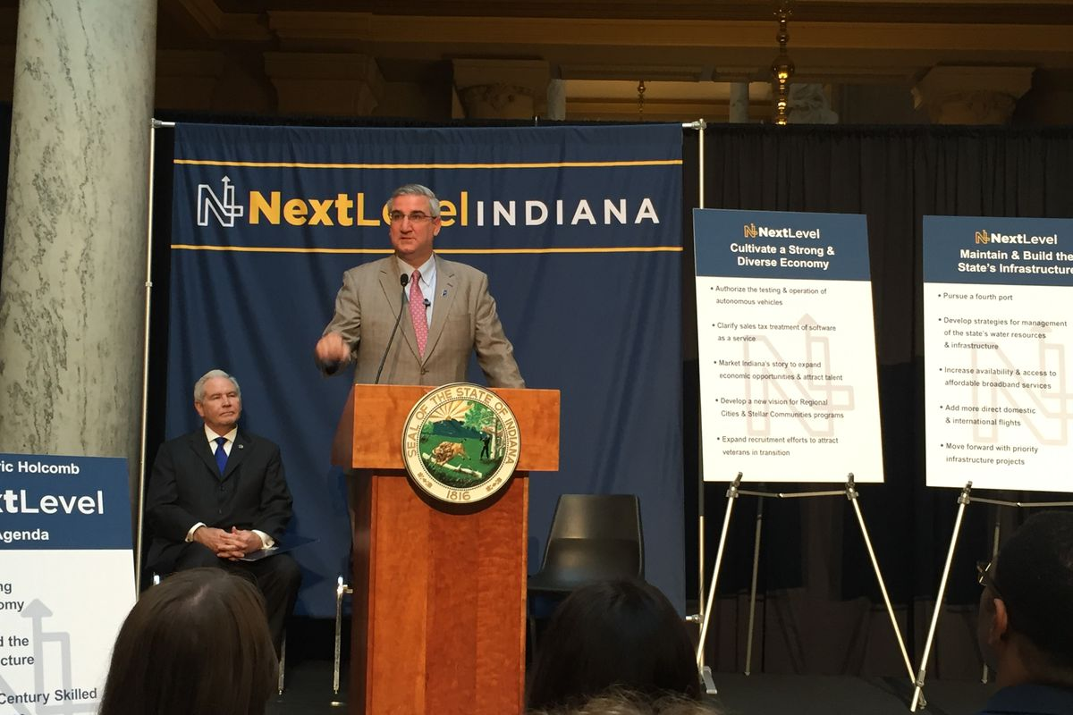 Gov. Holcomb speaks to a crowd at the statehouse to unveil his 2018 legislative priorities.