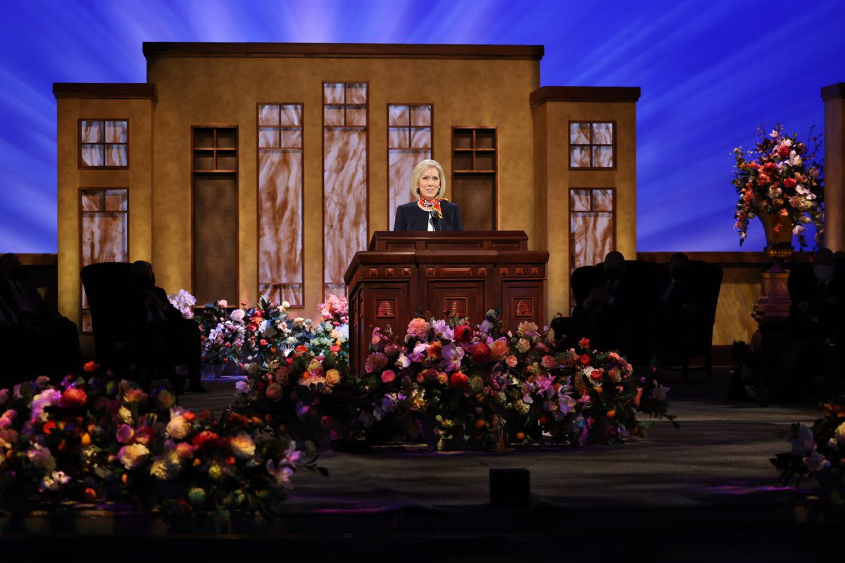 President Joy D. Jones,general president of the Primary,speaks during the Saturday morning session of The Church of Jesus Christ of Latter-day Saints' 191st Annual General Conference in Salt Lake City on April 3, 2021.