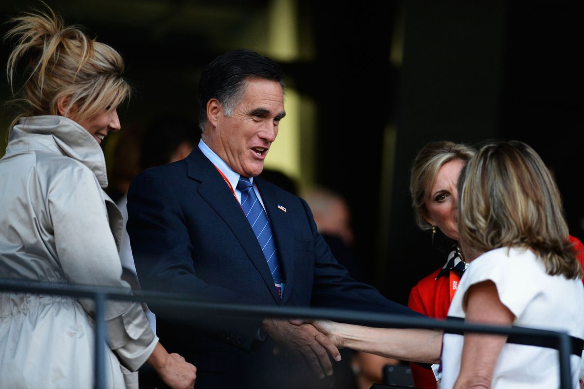 LONDON, ENGLAND - JULY 27:  US Republican Party nominee hopeful Mitt Romney during the Opening Ceremony of the London 2012 Olympic Games at the Olympic Stadium on July 27, 2012 in London, England.  (Photo by Pascal Le Segretain/Getty Images)