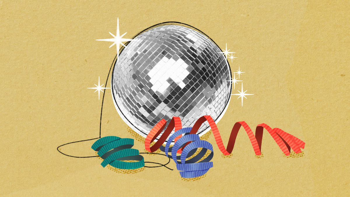 A illustration of a disco ball floating on the ground with party-like ribbons strewn around it