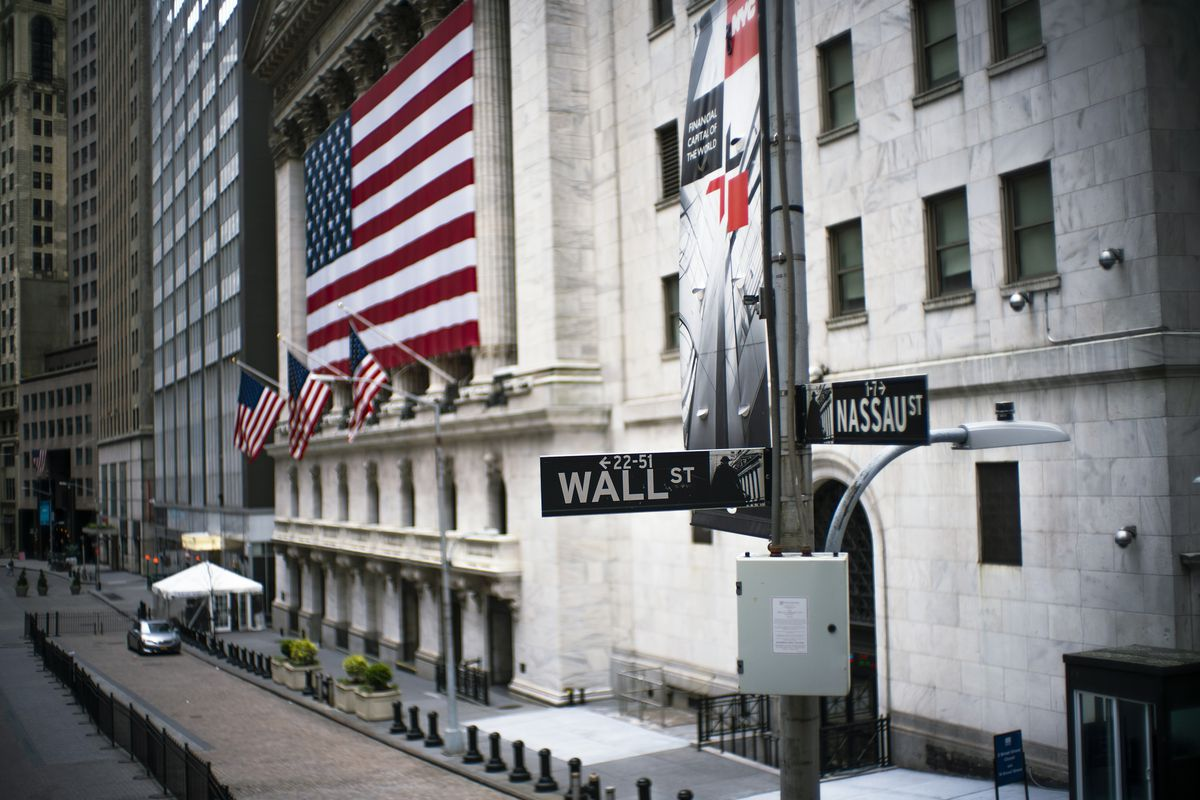 The New York Stock Exchange building is photographed on April 20, 2020 in New York City.