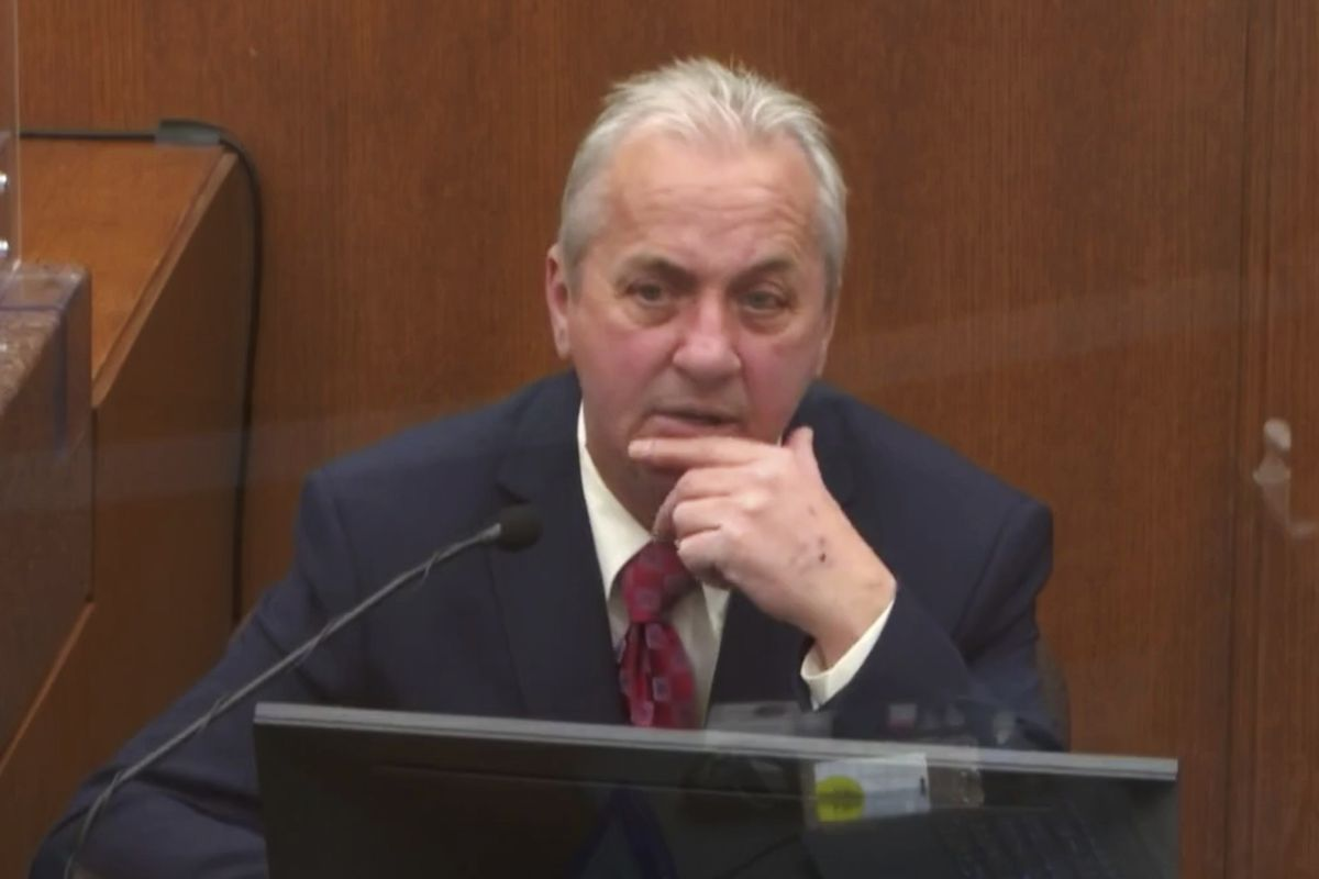 In this image from video, witness Lt. Richard Zimmerman of the Minneapolis Police Department David Pleoger, testifies as Hennepin County Judge Peter†Cahill presides Friday, April 2, 2021, in the trial of former Minneapolis police Officer Derek Chauvin at the Hennepin County Courthouse in Minneapolis, Minn.