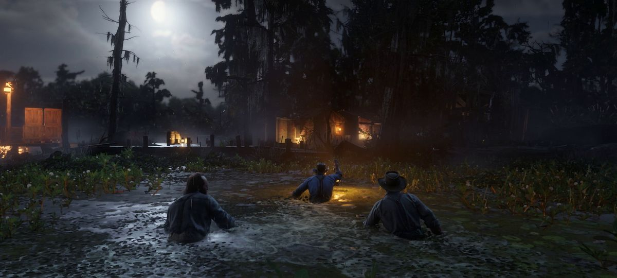 Red Dead Redemption 2 - wading through the bayou