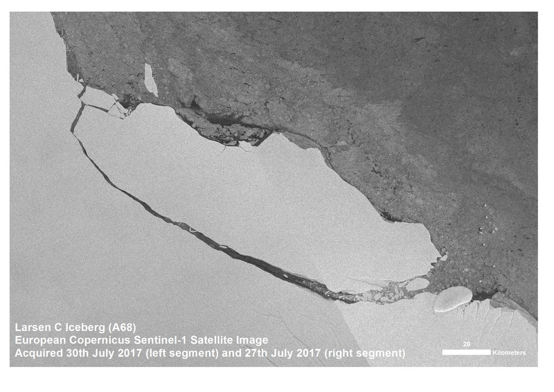 The Copernicus Sentinel-1 satellite snapped this picture of the A68 iceberg on July 30th, 2017.