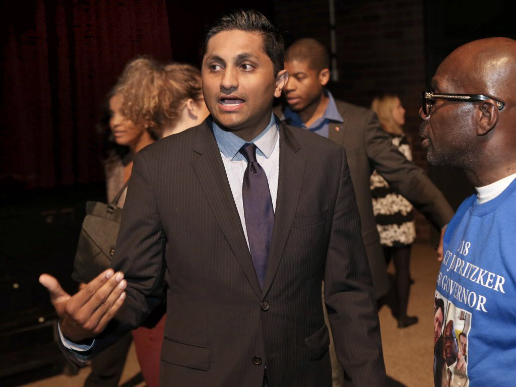 Ald. Ameya Pawar speaks with guests before a Democratic gubernatorial debate at Whitney Young High School in October, 2017.   Kevin Tanaka/For the Sun Times