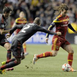 Real Salt Lake midfielder Kyle Beckerman (5) races past the Toronto FC defense during a game at Rio Tinto Stadium in Sandy on Saturday, March 29, 2014.
