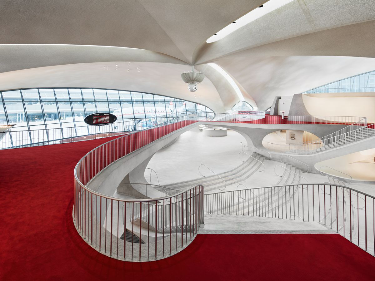 A view of the TWA Hotel's main lobby space from the second floor.