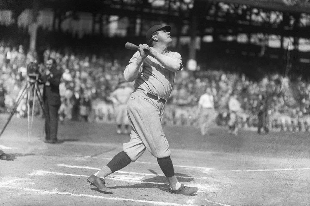 Babe Ruth Practicing