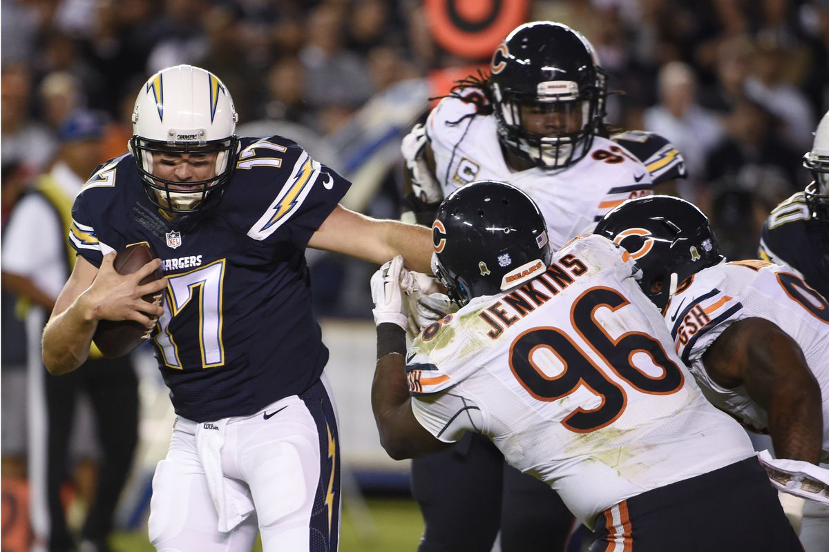Philip Rivers (17, scrambling away from Bears defensive tackle John Jenkins in a 22-19 loss to the Bears in 2015 in San Diego) is 2-2 against the Bears in his career, with a 77.9 passer rating (five touchdowns, six interceptions).