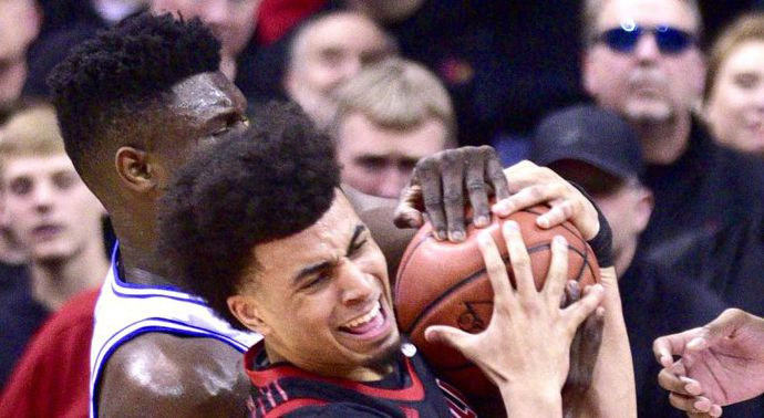 Zion Williamson dented a basketball with his dang fingers