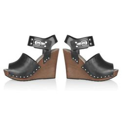"""<b>See by Chloé</b> Leather and Wooden Wedge Sandals in Black, $140 (on sale from $350) at <a href=""""http://www.theoutnet.com/product/310582"""">The Outnet</a>"""