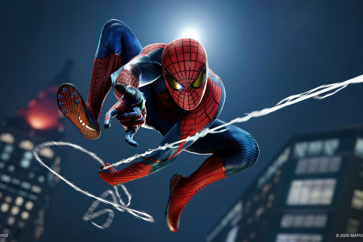 Spider-Man swings through New York in a screenshot from Marvel's Spider-Man on PS5