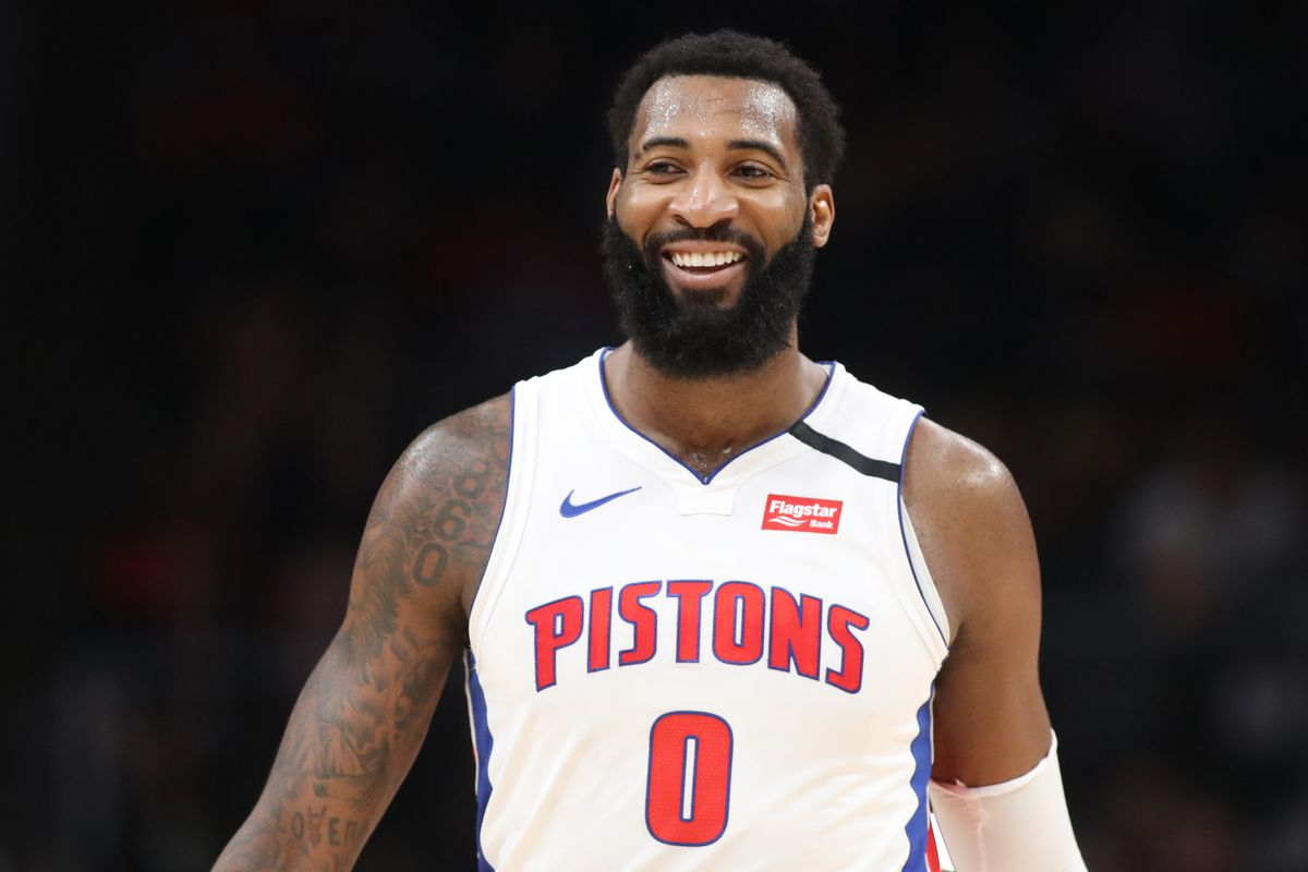 Detroit Pistons center Andre Drummond reacts after a play in the second half against the Atlanta Hawks at State Farm Arena.