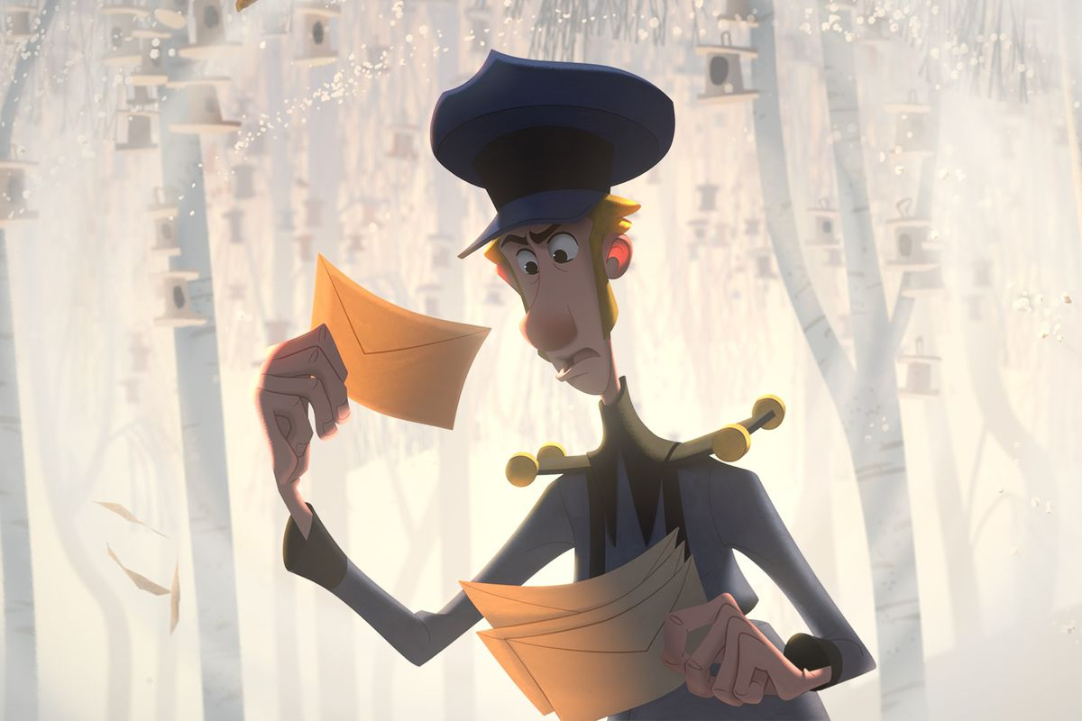 jesper in Klaus, holding a letter