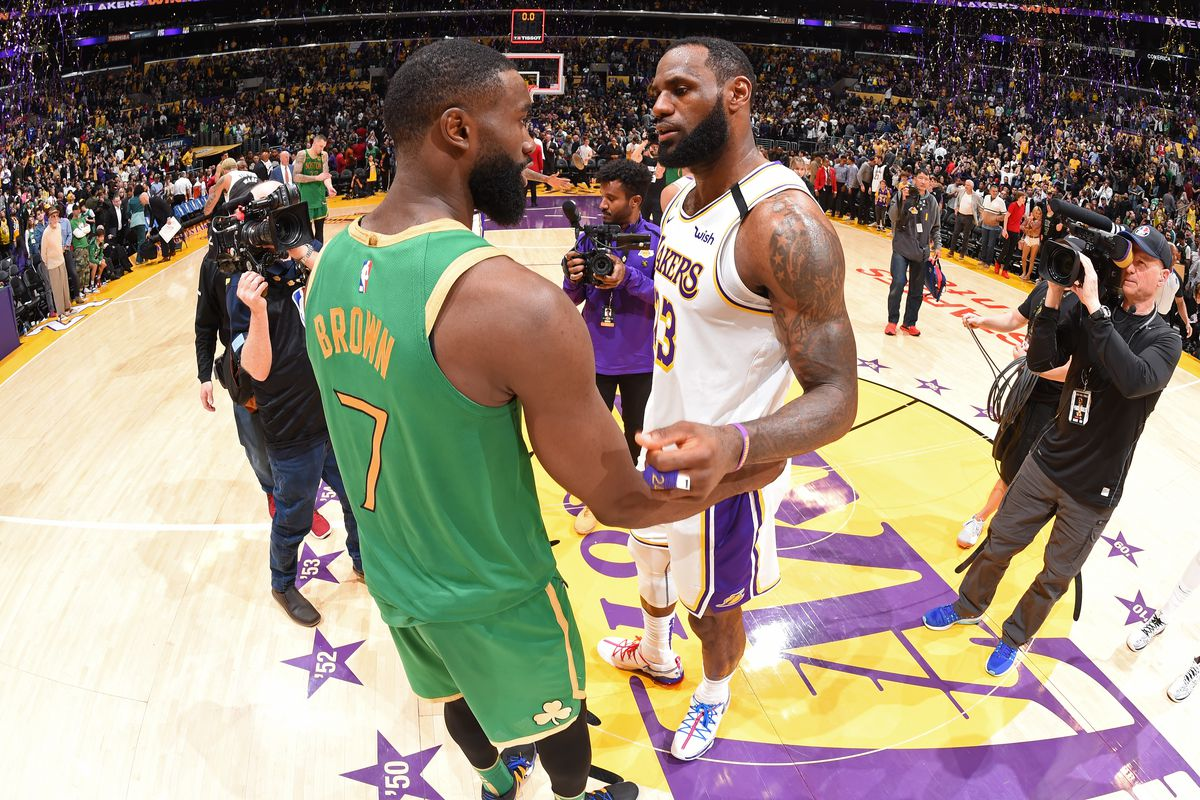 Jaylen Brown #7 of the Boston Celtics talks with LeBron James #23 of the Los Angeles Lakers after the game on February 23, 2020 at STAPLES Center in Los Angeles, California.