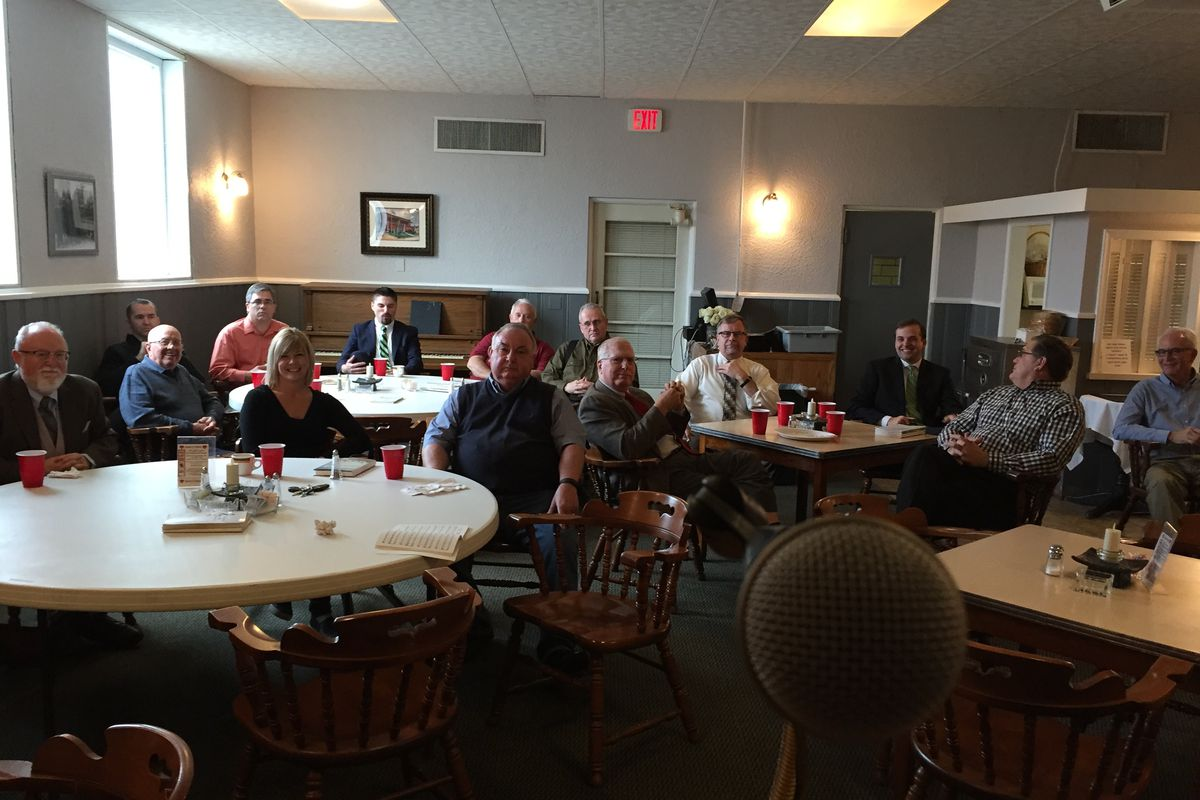 Luncheon with the Rotary International in Fairfield, Illinois, January, 2017. The town of about 5,000 is in Wayne County, which voted 84.6 percent for Donald Trump in 2020, even more than in 2016. Both times, it was the Illinois county with the highest percentage of Trump votes.