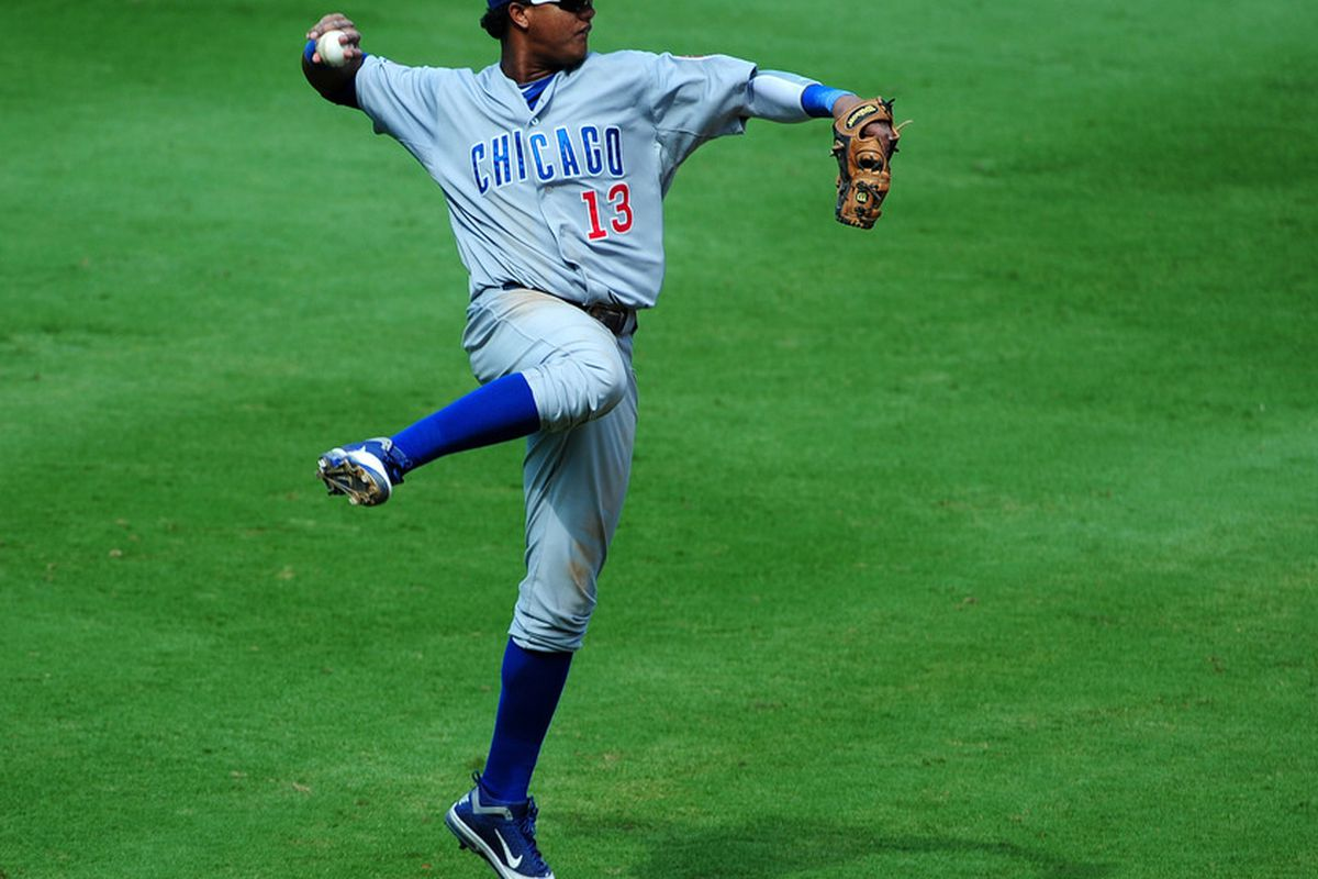 Starlin Castro of the Chicago Cubs throws out a runner against the Atlanta Braves at Turner Field in Atlanta, Georgia. (Photo by Scott Cunningham/Getty Images)