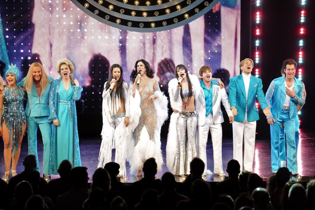 """The curtain call on opening night of the pre-Broadway premiere of """"The Cher Show"""" musical at the Oriental Theatre on June 28, 2018. 