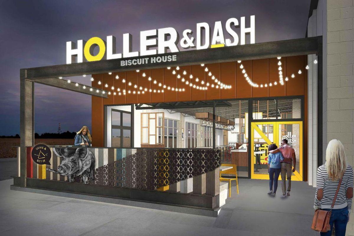 """A large glowing sign proclaims """"Holler & Dash Biscuit House"""" above a porch, framed in steel, with the restaurant behind."""