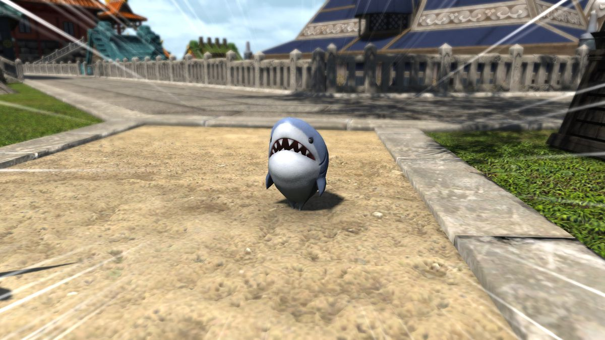 A tiny shark with legs stands on the sidewalk, with dramatic lines pointing at him