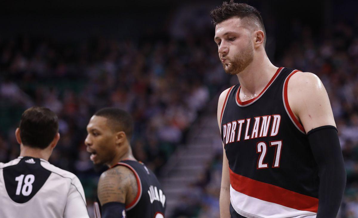 Portland Trail Blazers center Jusuf Turkic reacts against the Utah Jazz.