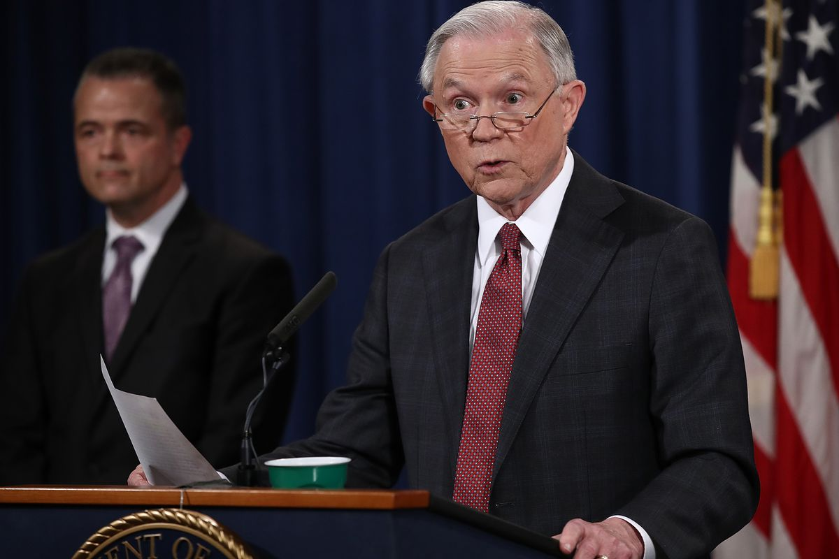 U.S. Attorney General Jeff Sessions answers questions during a press conference at the Department of Justice.