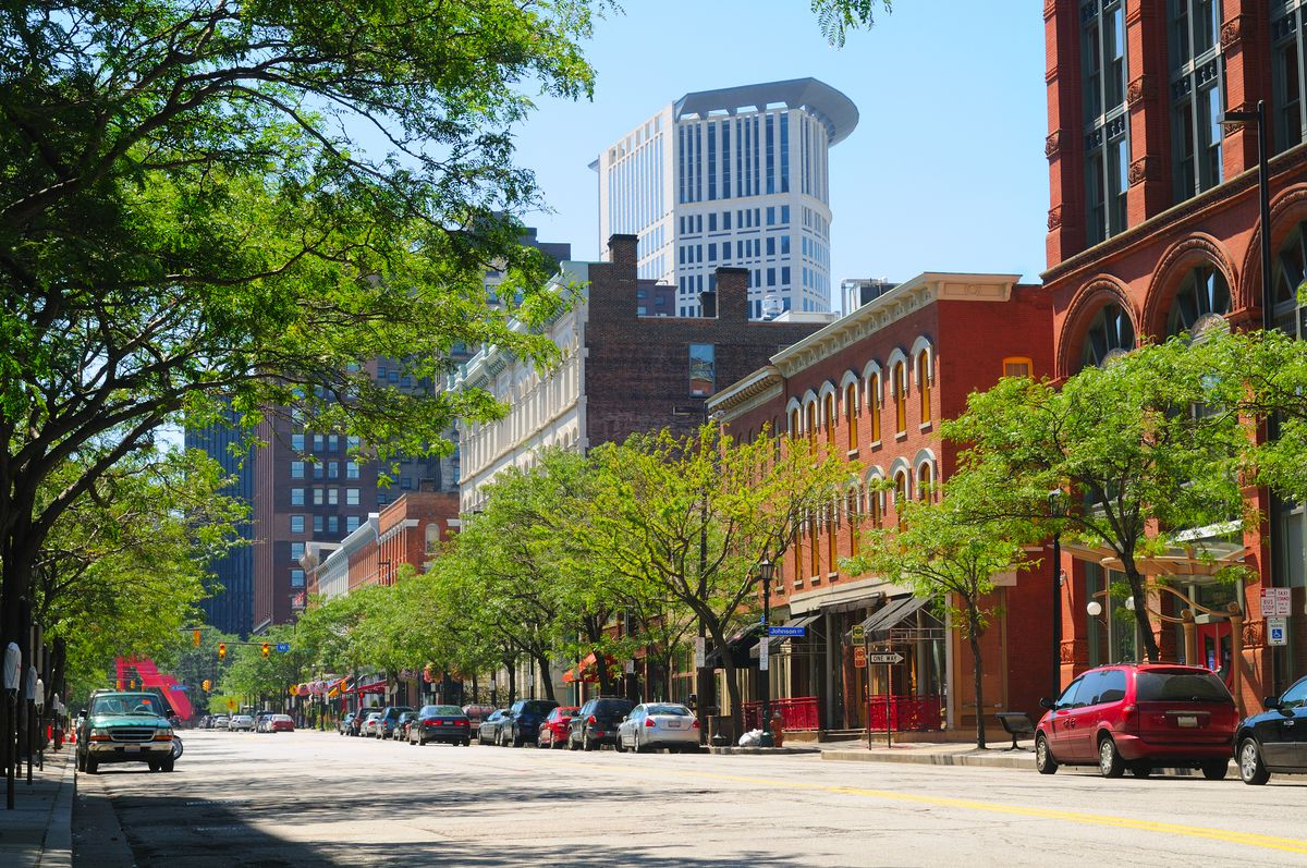 Cleveland Ohio's trendy Warehouse District, with the Justice Center rising behind.
