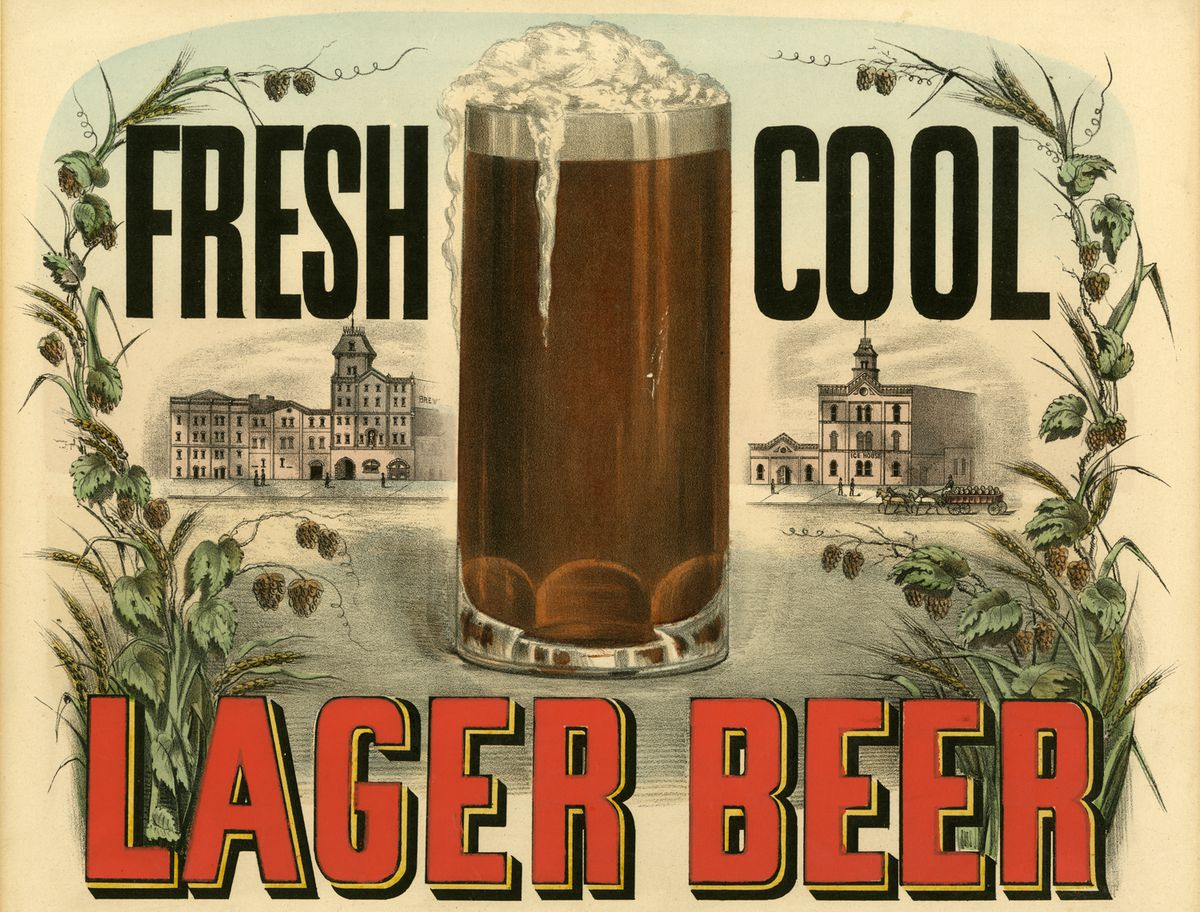 An early beer ad — and in America, you would have found a lot of it.