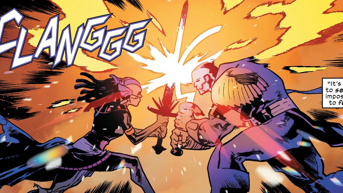 The mutants Apocalypse and Genesis cross swords with a CLANGGG in X-Men #15, Marvel Comics (2020).