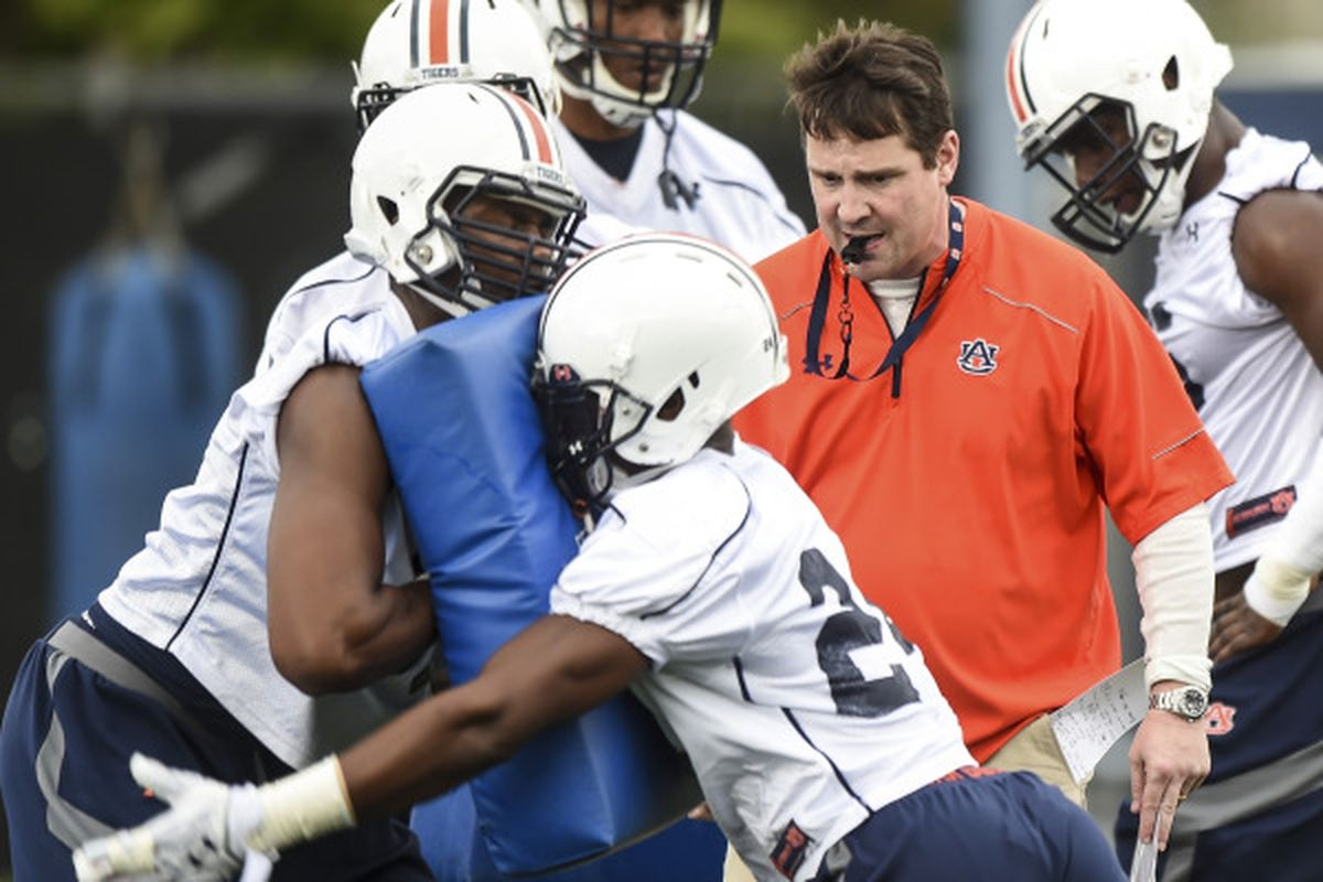 Will Muschamp oversees a drill during Spring Practice