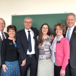 Elder Richard Norby, far right, and his wife, Pam, pose for a recent picture with Elder Ed Wilson and Sister Lynn Wilson, center, and Elder Dave Slaughter and Sister Connie Slaughter. The three senior missionary couples were serving together in the France Paris Mission before the March 22 Brussels airport bombing that seriously wounded Elder Norby.