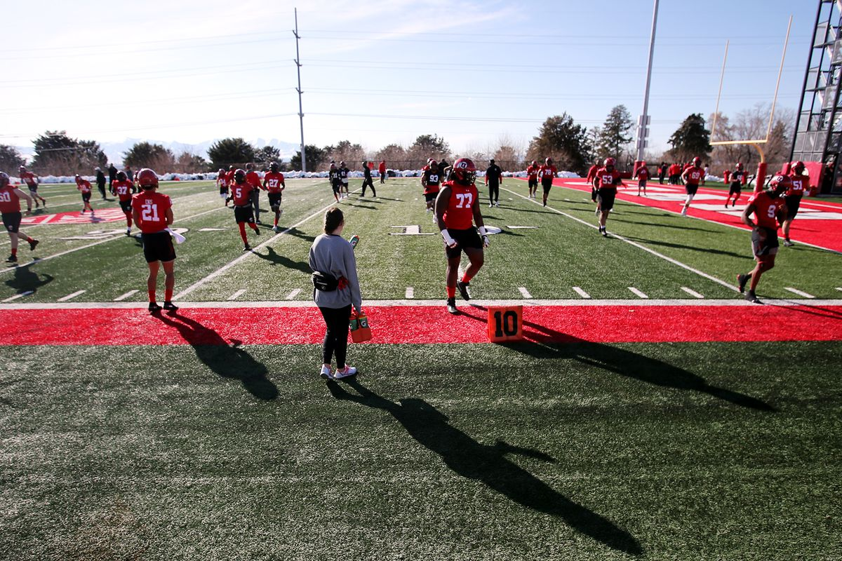 The University of Utah football team opens spring camp in Salt Lake City on Monday, March 2, 2020.