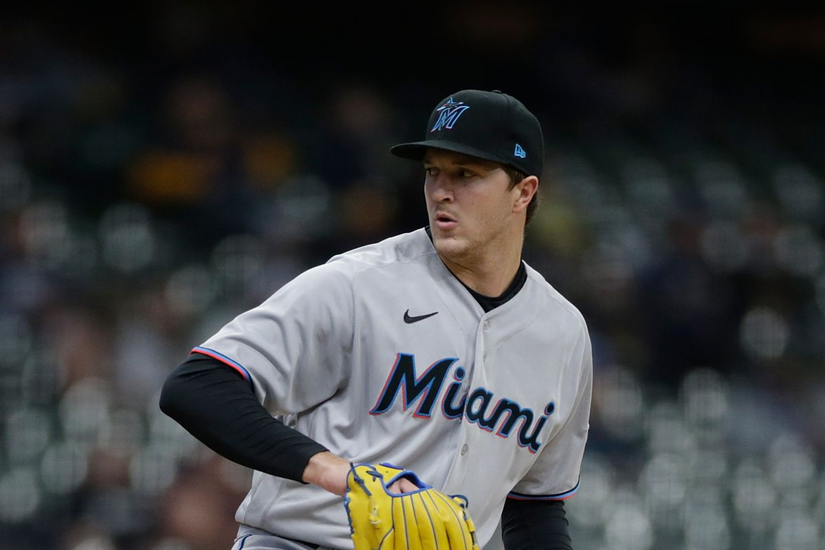 Trevor Rogers of the Miami Marlins throws a pitch against the Milwaukee Brewers at American Family Field on April 26, 2021 in Milwaukee, Wisconsin.