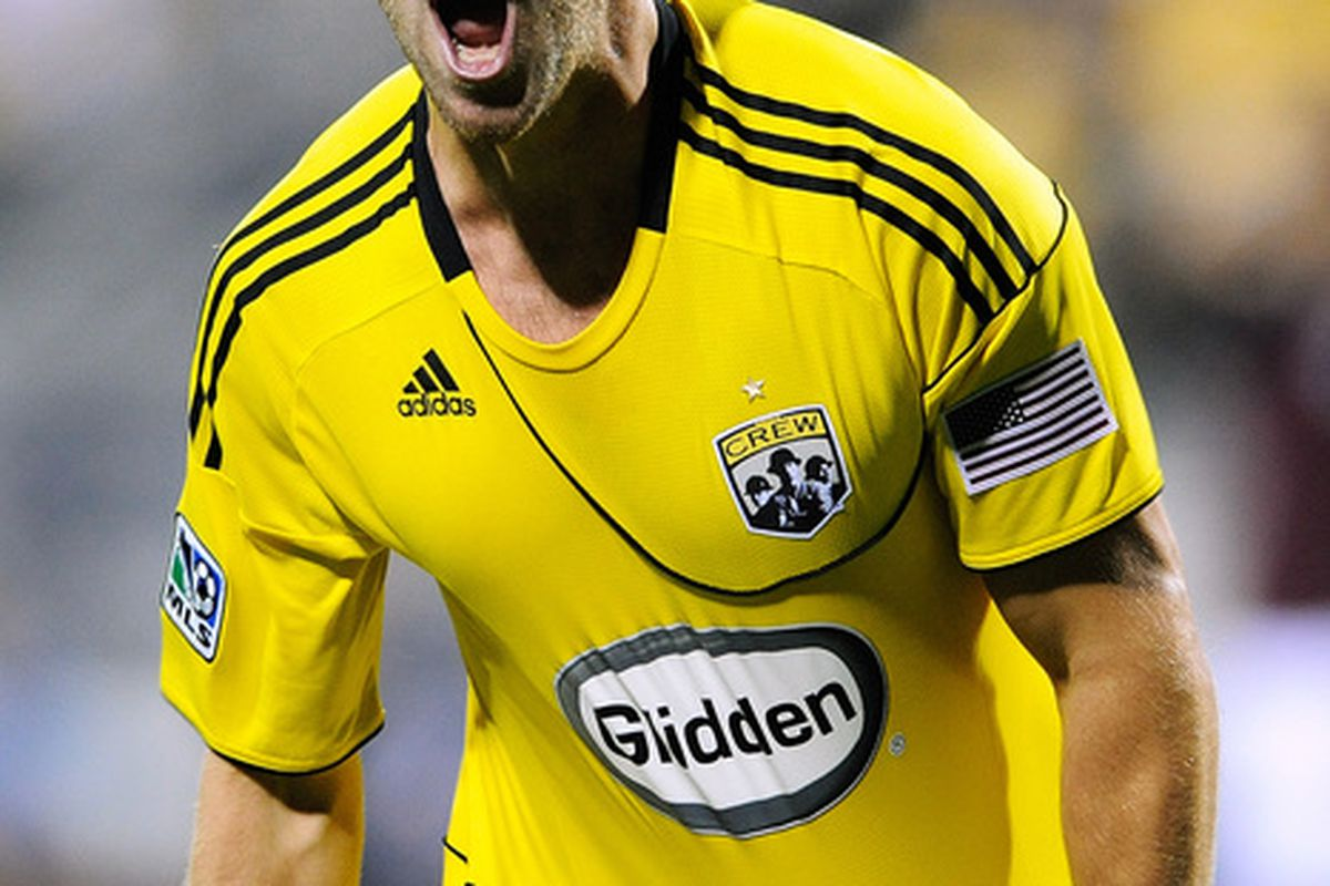COLUMBUS OH - AUGUST 21:  Jason Garey #9 of the Columbus Crew celebrates after scoring a goal against the Colorado Rapids on August 21 2010 at Crew Stadium in Columbus Ohio. Columbus defeated Colorado 3-1.  (Photo by Jamie Sabau/Getty Images)