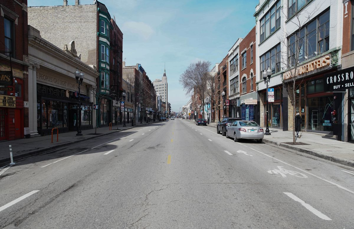 The 1500 block of North Milwaukee Avenue on March 25, 2020.