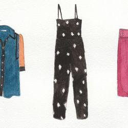 Left to right: Peter Jensen raw seam blouse, $298. Caron Callahan Pierot jumper, $395. Bruce II bubble skirt, $375.