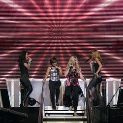 Carly Smithson, left, Ramiele Malubay, Brooke White and Kristy Lee Cook perform during the American Idols Live concert at the E Center in West Valley on Monday night.