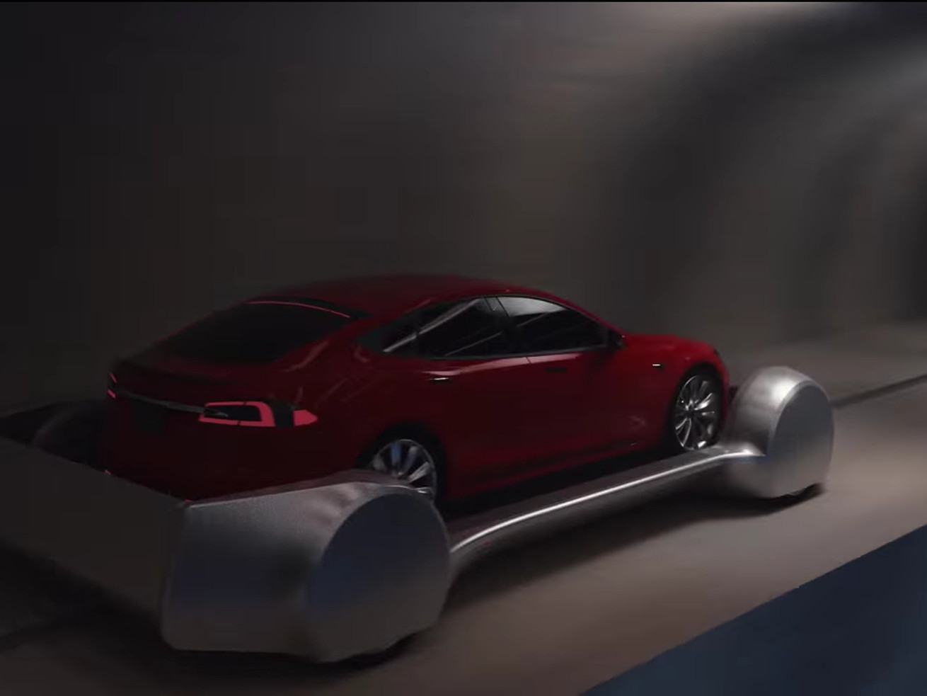 A rendering of a car in one of Musk's proposed tunnels.