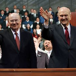 President Russell M. Nelson of The Church of Jesus Christ of Latter-day Saints and his wife Sister Wendy Nelson, right, along with Elder Quentin L. Cook of the Quorum of the Twelve Apostles and his wife Sister Mary G. Cook, say goodbye at the end of a Latin America Ministry Tour devotional in Quito, Ecuador on Monday, Aug. 26, 2019.