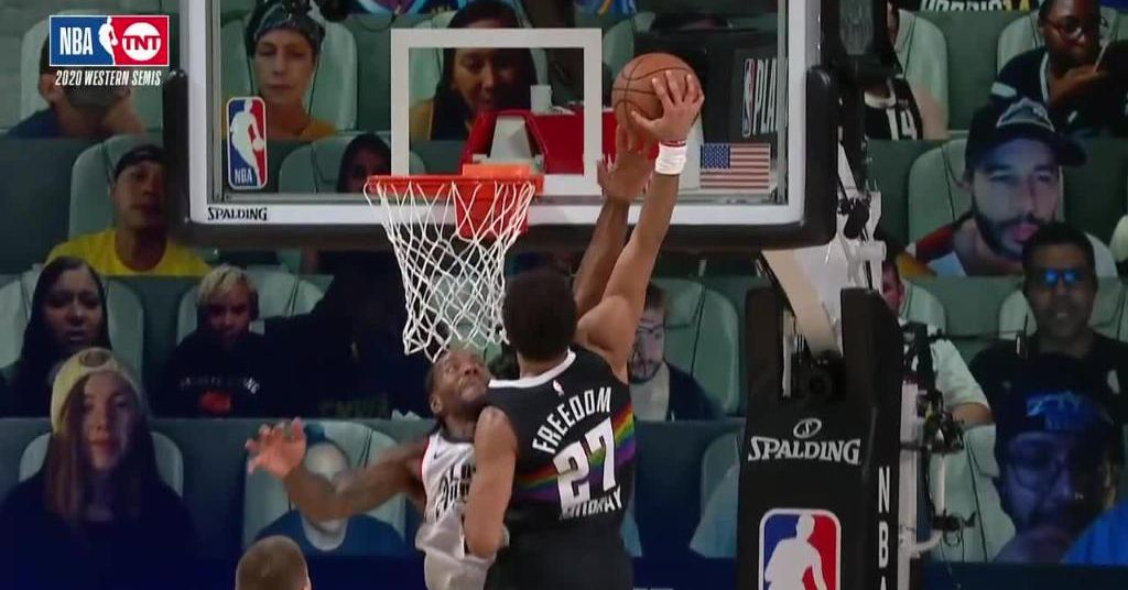 Kawhi Leonard blocked a dunk with his middle finger in the 2020 NBA playoffs thumbnail