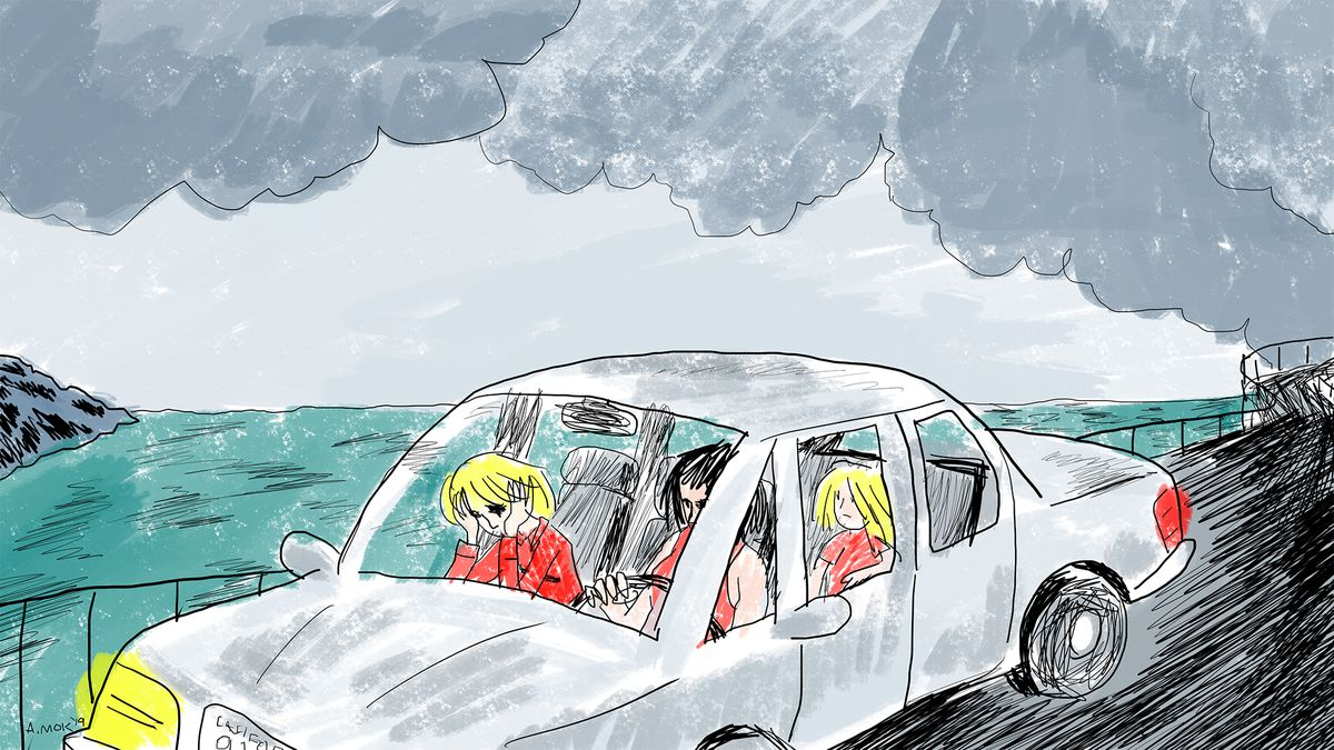 Illustration of a family in a car driving on a road near the sea on a cloudy day.