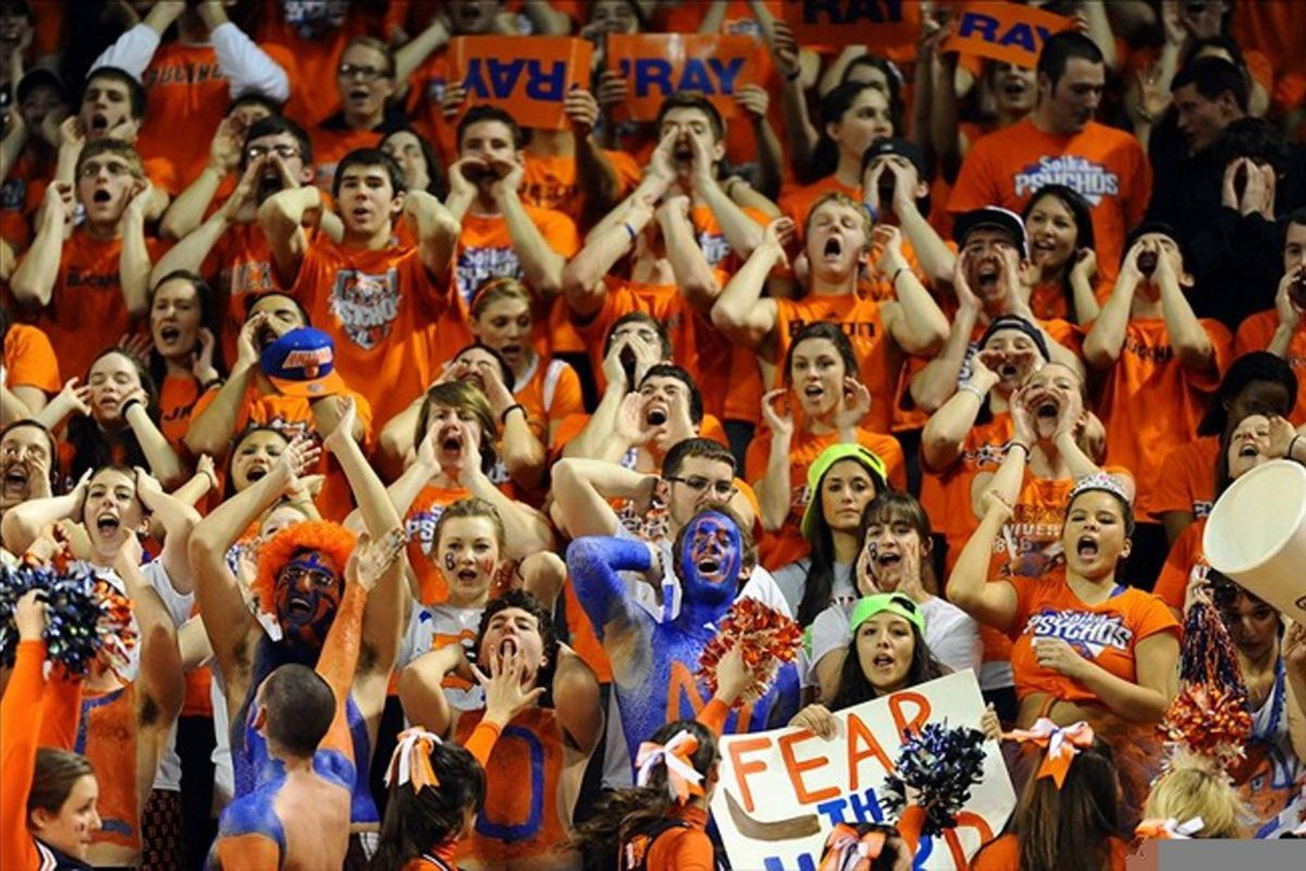 Mar 7, 2012;  Lewisburg, PA, USA; Bucknell Bison fans cheer during the finals of the 2012 Patriot League Conference Tournament against the Lehigh Mountain Hawks at Sojka Pavilion. Lehigh won 82-77. Mandatory Credit: James Lang-US PRESSWIRE