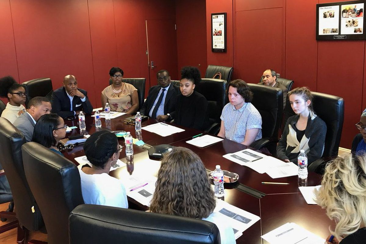 Superintendent Dorsey Hopson met with student leaders from Shelby County Schools and other Memphis-area schools to discuss their planned walkout to protest gun violence in the wake of this year's shooting rampage at a Florida high school.