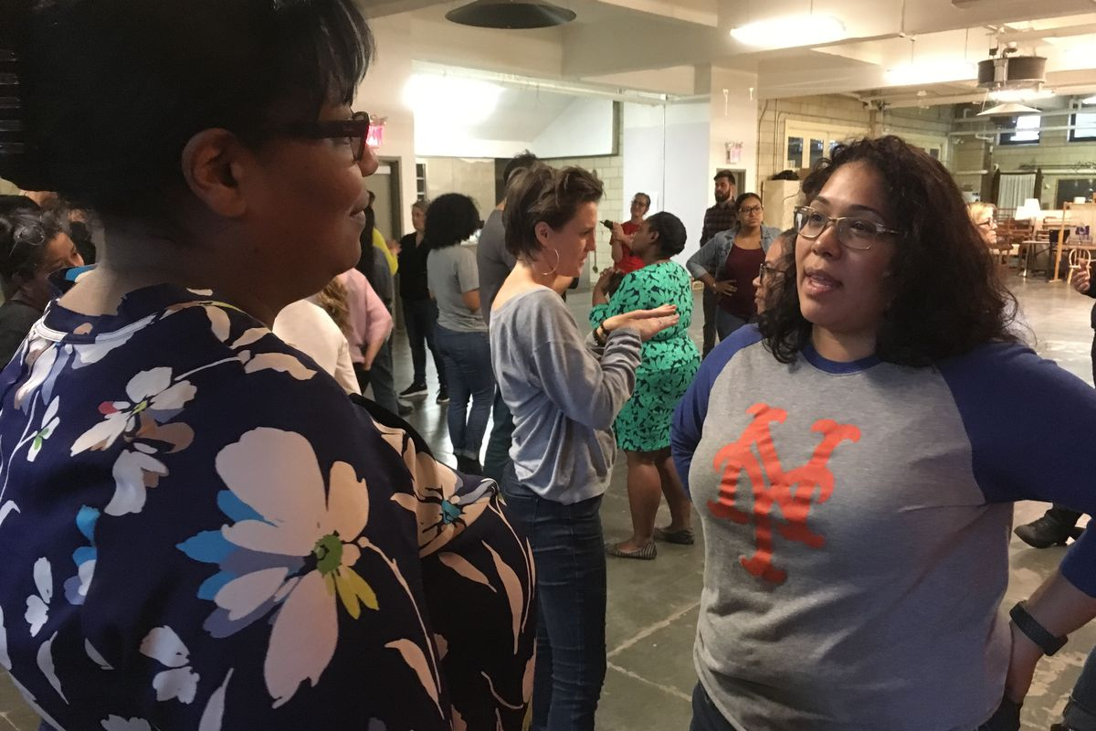 Two educators discuss how and when race, or racism, showed up in their classrooms at a Border Crossers training.